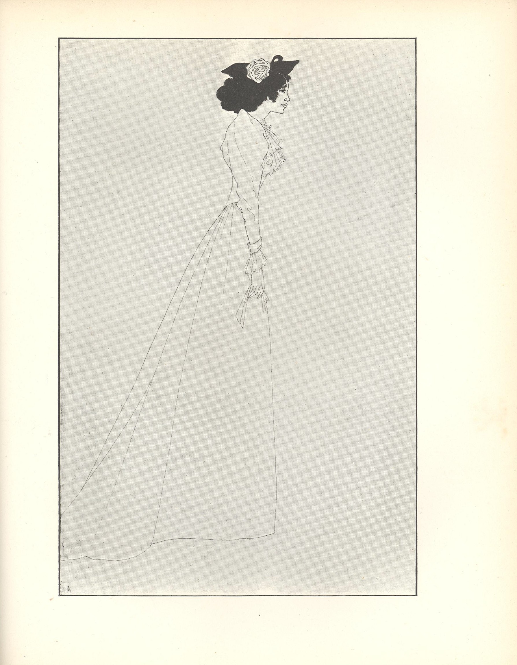 Image is of a full length woman standing in profile looking right Except for her black hair and hat her form is suggested with the lightest of lines Her body extends from nearly the top of the frame to the bottom dividing the space in half vertically She is wearing a small black hat with a large white rose a white dress with a lace jabot and puffed sleeves with lace cuffs She is carrying a white glove in her right hand The background is open and light coloured The image is vertically displayed