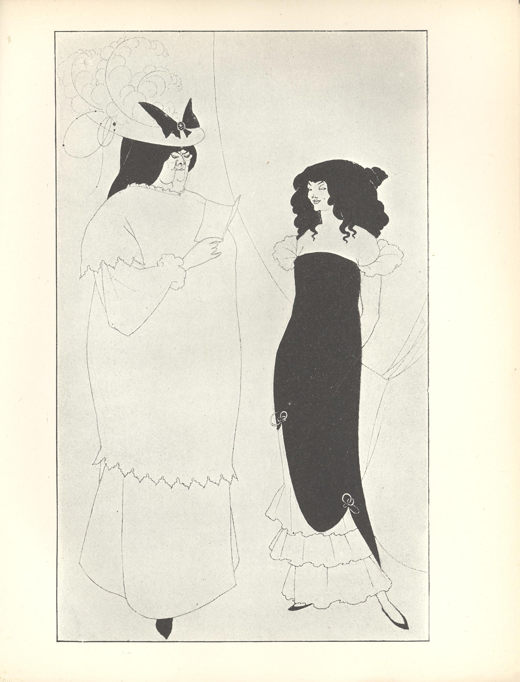 Two full length women face each other in front of a theatrical curtain This curtain is in the middle ground and takes up 1 3rd of the image The curtain is positioned behind the younger woman dividing the image in half vertically To the left there is an older larger woman with black hair who fills almost the entire left side She is wearing an elaborate hat and reading a book to a smaller young woman to her right This young woman is wearing an off the shoulder black evening dress standing with her hands behind her back and looking sideways to the right The image is vertically displayed