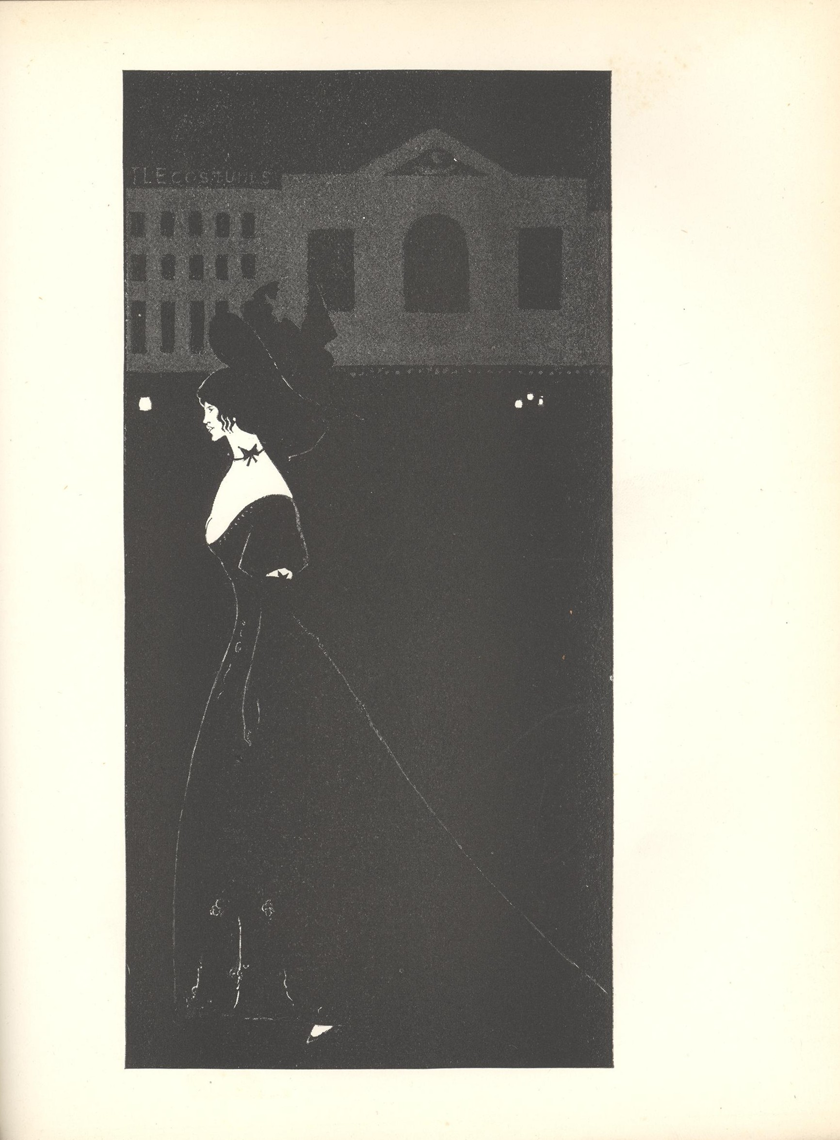 Image is of a night scene In extreme foreground a solitary full length woman is shown in profile wearing a black evening gown with a bow around her throat and her hair in a coif walking toward the left corner In the background of the upper section there is the suggestion of an architectural façade and lights This façade has three large windows in a row on the right side and fifteen smaller windows in rows of five on the left side There is an attached sign that reads Costumes The image is displayed vertically