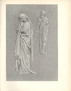 Image is a study of two adults of indeterminate gender shown full length in draperies The figure on the left is in the foreground shown in profile looking to the left this figure takes up half of the picture frame This figure s face is downcast resting on its hands a finger on the right hand is extended to touch its face The second adult is in the background to the right This draped figure is shown frontally Both figures have their hands clasped in a contemplative or praying manner The background is open The image is vertically displayed