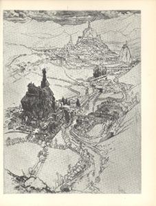 Image features a downward view of a river valley The river starts at the bottom centre of the image and winds upward dividing the image in half On the middle left side there is a medieval town that is dark with shadows To the upper right is another town which is lighter in colour The two towns are connected by a road running parallel to the river in the middle of the page Both towns have a large central hill which is topped by a religious statue A landscape of mountains trees and other buildings surround the towns filling the remaining 2 3rds of the frame Artist s signature is in the bottom right The image is vertically displayed