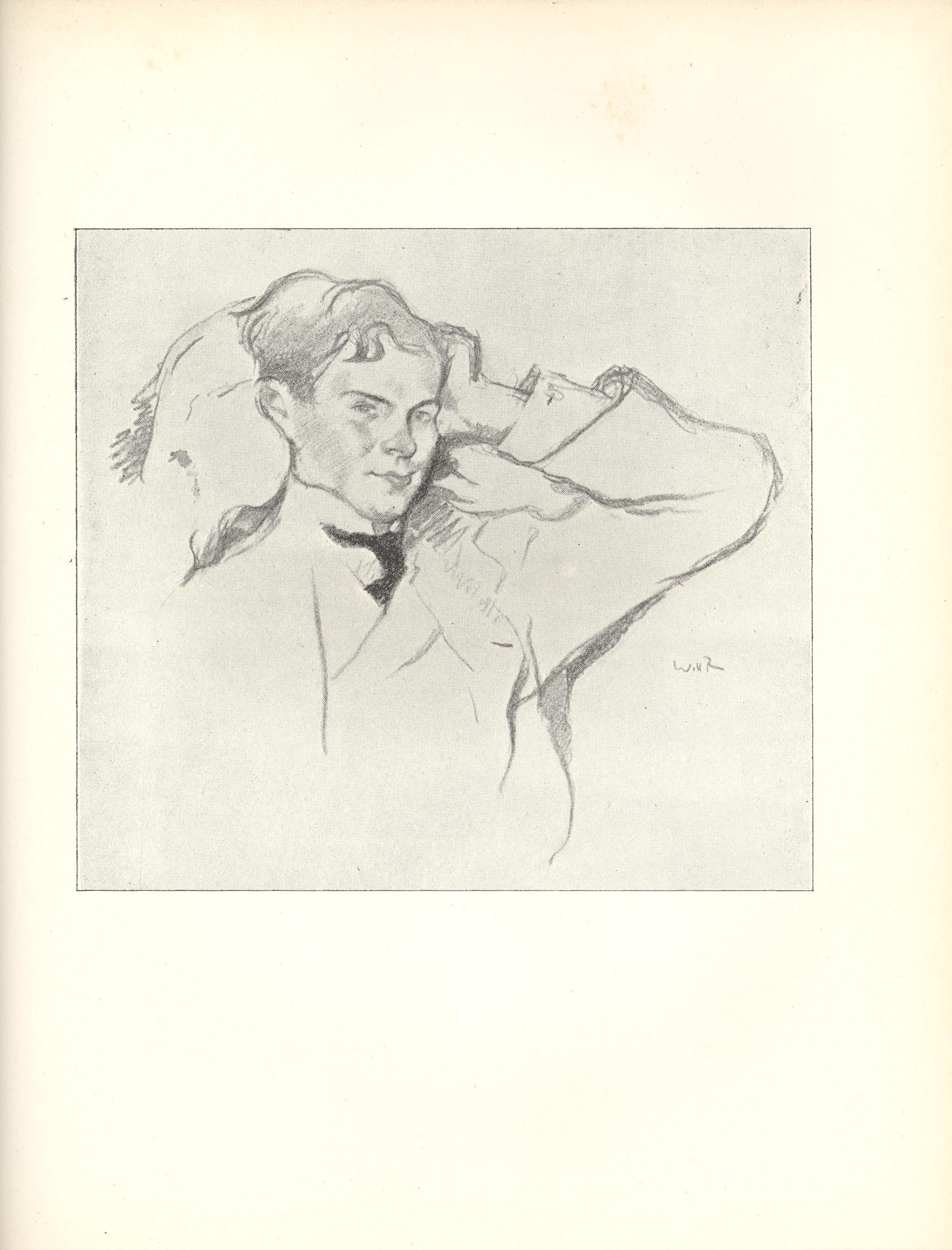 Image is a sketch of a young man the background is open white His head is leaning against a pillow in a 3 4 profile with his body slightly left of centre The pillow and his torso take up most of the space on the left half of the image His left arm is raised up to rest on his temple taking up the right side of the frame He is wearing a suit and tie Artist s name is on the middle right side of image under the man s arm The image is vertically displayed