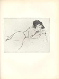 mage is of a young woman in a skirt and blouse with a large black hat reclining frontally on a pillow She is in a 3 4 profile position with eyes looking to the left Her body extends from the lower left corner to the upper right corner dividing the page in half diagonally Her head is supported in her left hand her eyes are looking back Her right hand is resting against the pillow fingers splayed The background is open and light coloured The artist s signature is in the middle left portion of page above the woman s hip The image is vertically displayed