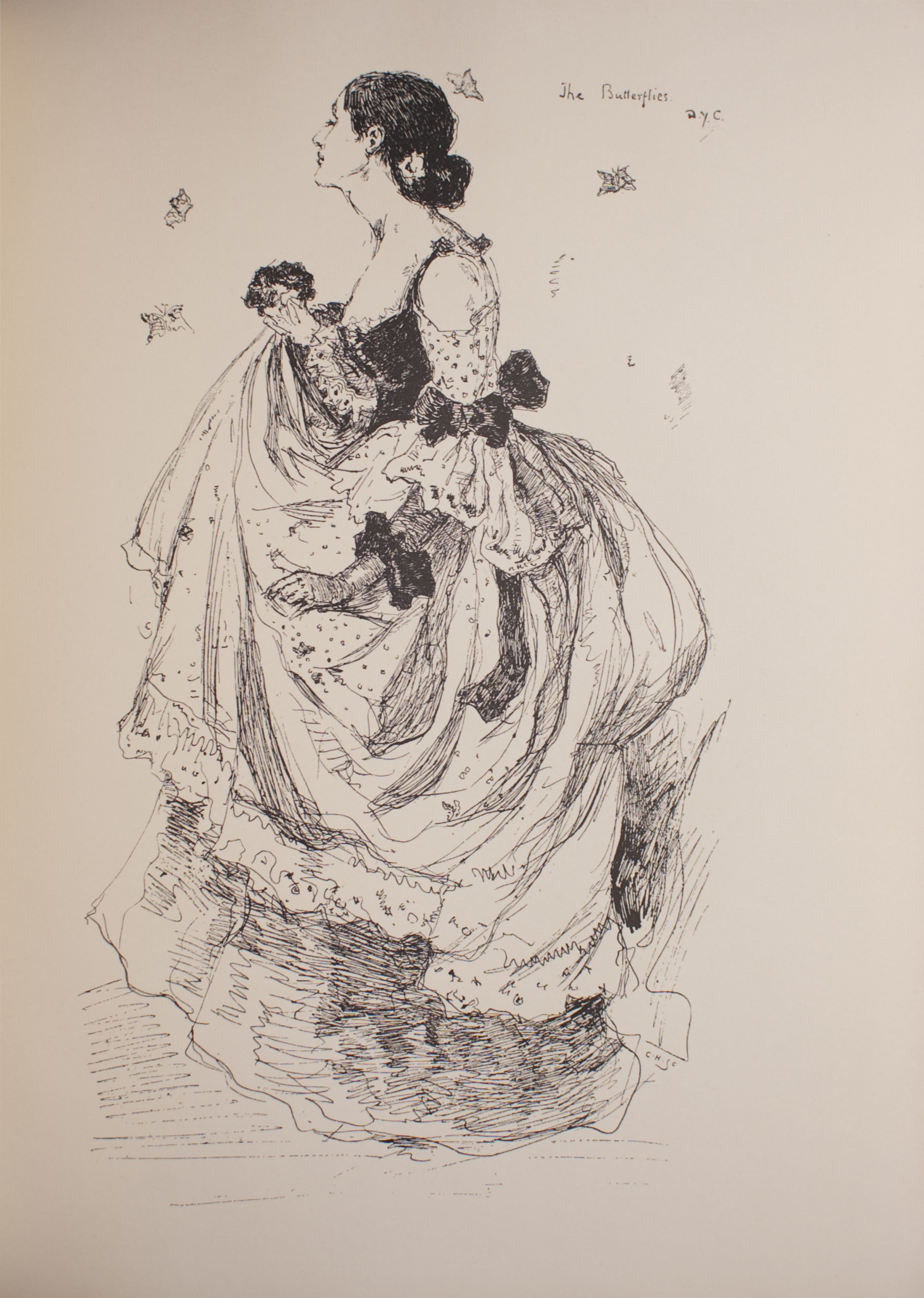 Image is of a woman in full profile She is facing the left with her eyes closed Her dark hair is secured in a bun at the nape of her neck by a piece of jewellery or flower Her dress is full with patterned ¾ off the shoulder sleeves There are dark bows at the woman's elbow and wrist and at the back of her skirt The neckline of the dress is low and ruffled The woman is holding her skirt and a bouquet in her right hand There are four butterflies flying around the woman The image title and artist signature are in the upper right hand corner the engraver's name is in the lower right hand corner beneath the woman's hemline The image is open and undefined The image is vertically displayed
