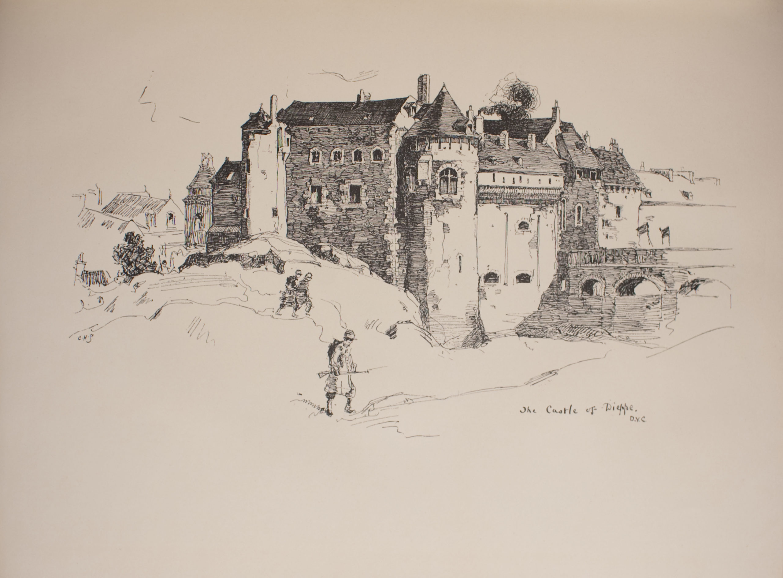Image is of a castle with a moat on a hilly landscape A round tower is in the centre of the image dividing it in half horizontally It has two arched windows There is a smoking chimney to the right of the tower To the left there is another round tower it is at the back of the building In the left background are the outlines of several smaller buildings Most of the castle has arched windows though a few are rectangular There are some noticeable cracks and paint chipping on the castle walls To the right of the centre tower is a bridge with three arches In the foreground are three figures wearing military regalia The figure in the centre foreground also has a weapon The background is open and undefined The name and artist of the image The Castle of Dieppe DYC are in the bottom right corner The engraver's initials C H Sc are in the middle left The image is horizontally displayed