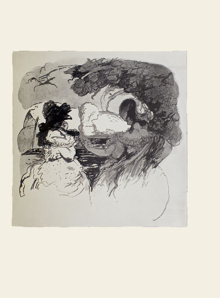Image is of two women view from the back They are both wearing hats and gowns The dark-haired woman on the right is shown in profile looking to her left Her left arm is extended toward the other woman her right arm is holding on to her dress To the right there is a tree in the middle ground casting a shadow on the woman The sky is cloudy The women are sitting in front of water and in the background on the left there is a sail boat on the water The image is vertically displayed