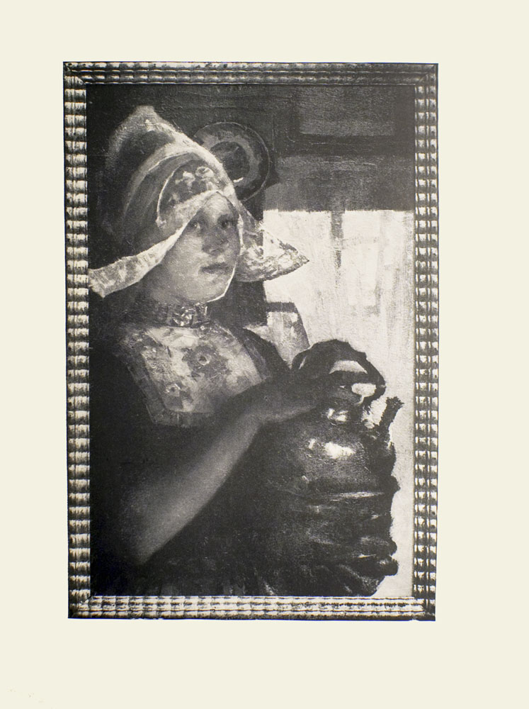 Image is of a woman shown from the waist up She is shown in ¾ face Her dress is high-necked and dark with a floral pattern across the chest She is wearing a light-coloured Dutch lace bonnet with two wings She is looking to the right of the image She is holding a large brass kettle in her hands Her left hand is supporting the base while her right hand is resting on the handle In the background there is a hanging plate To her left is a large window Image has a thick patterned frame Image is vertically displayed