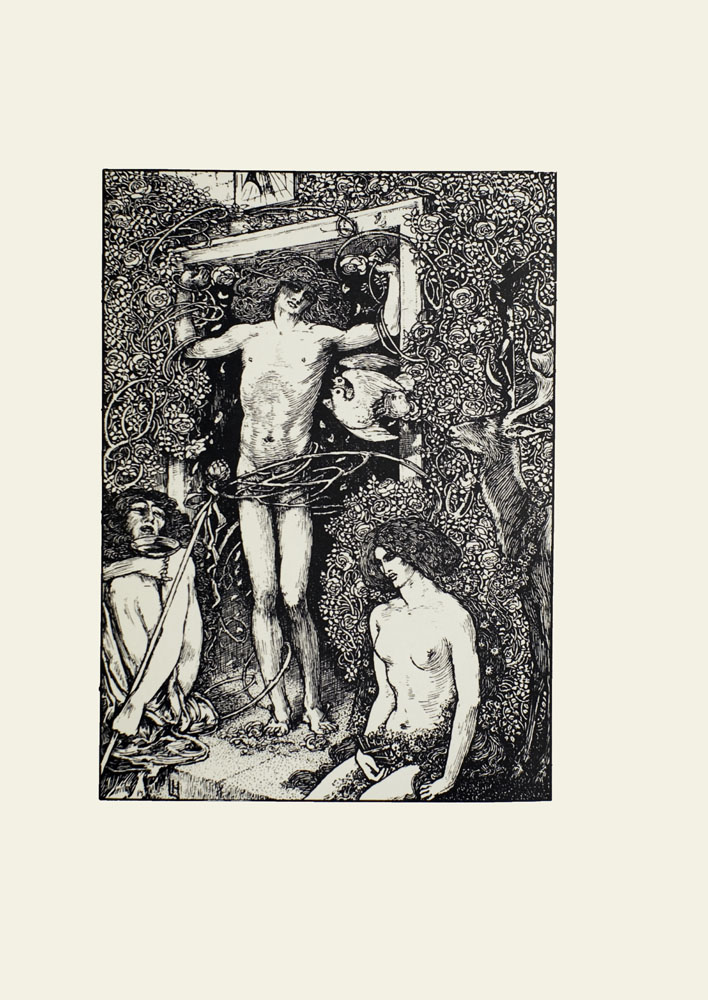 Image is of a man chained to a doorframe He has long curly hair He is unclothed and shown full frontal His head is slightly tilted and his eyes are looking upward Several branches obscure his genitalia There are two figures sitting on either side of him The figure to the left of the man is of an unidentifiable gender with long hair The figure's legs are pulled up to his/her chest The figure's face is tilted upward with eyes closed In the figure's right hand is a goblet in the left hand is a long staff with an artichoke or flower on the end of it The figure to the right of the chained man is a woman completely exposed save for some flowers covering her genitalia Her hair is long and flows around her To the right of the woman is a deer shown in profile Behind the deer amongst the flowers that cover the wall is a dark cross To the left of the deer is a pair of flying birds A light shines from above The artist's signature LH is in the bottom left corner The image is displayed vertically