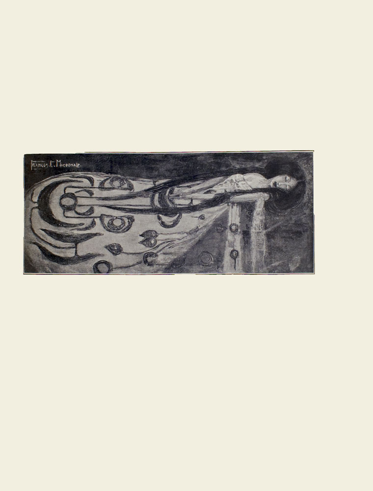 Image is of a woman sleeping She is wearing a patterned gown with a décolleté neckline Her hands are clasped resting on her lap She has long black hair parted down the middle the hair rests on either side of her bust The background is dark and undefined The artist's signature FRANCES E MACDONALD is in the upper left corner The image is double ruled with thin black lines and vertically displayed