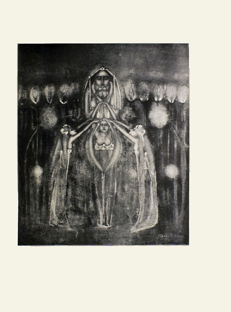 Image is of four women possibly deities The tallest woman is in the upper middle ground looking over the others She has her eyes closed She holds an unidentifiable object which may be an owl in her hands She is wearing a long veil A smaller woman who is also wearing a long veil is standing in front of her shown in full face She is unclothed from the waist up The hands of this woman are reaching up to hold onto the object as well Two veiled women are on either side of her standing in profile Their hands are reaching above the smaller woman's head Neither of them are wearing clothes from the waist up There are several lit torches in the background The artist's signature is in the lower right hand corner but it is mostly illegible The image has a double ruling of thin black lines The image is vertically displayed