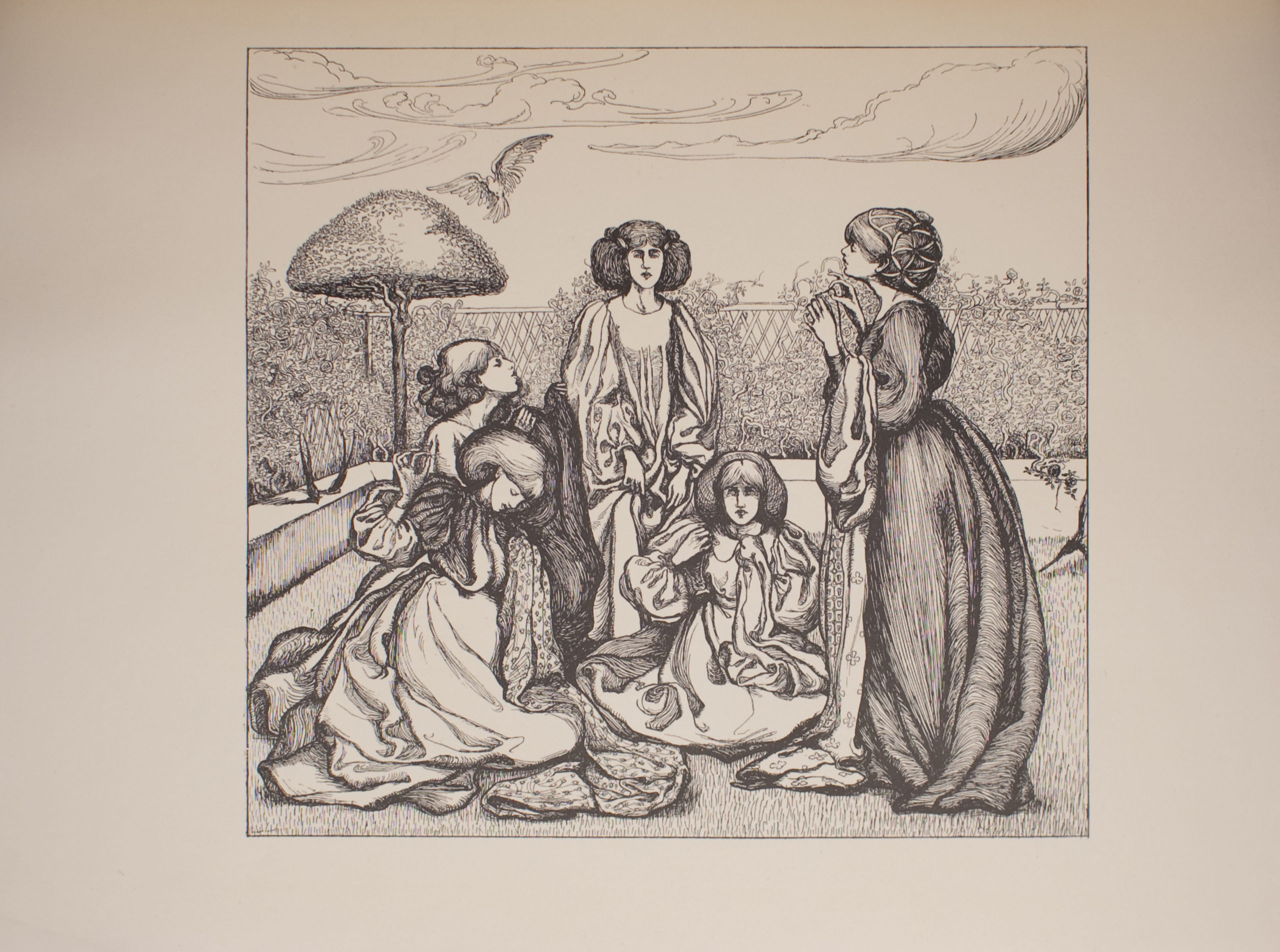 Image is of five women in a yard All of the women are wearing dresses with a high neckline and long sleeves They all have voluminous hair The woman in the centre is standing and shown in full profile She is holding her skirt below the waist Her hair is parted down the middle The woman to her right is sitting on the ground she is also shown in full profile Her right hand is raised halfway between her face and her body her left hand is also raised though it is hidden under an article of clothing Her hair is also parted down the middle Shadows fall slightly over her eyes Beside her is a woman standing in profile Her dress is dark with a patterned petticoat Her dark hair is done up and secured by a snood She is lifting her head slightly Her left and right hands are raised up toward her chest in her right hand is a sewing needle Across from her are two kneeling women shown in profile The woman in the foreground has shoulder-length hair and has her head tilted toward the ground Her right hand is raised and has a sewing needle and thread in it Her left hand is clutching some patterned fabric on which she is stitching Behind her is a woman with curly hair with her head tilted upward She is holding a dark fabric in her hands In the background is a low wall and a trellis with roses growing on it There is a tree with a slender trunk and a triangular-shaped canopy in the left background of the image There is a bird flying above it The sky is cloudy The image is horizontally displayed