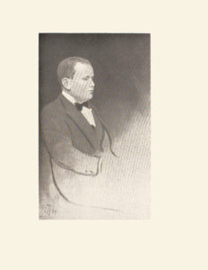 Image is of a man shown in profile He is sitting down looking right He has short light coloured hair He is wearing a suit with a dark bowtie The artist s initials and the year of the picture F H 94 are in the bottom left hand corner The background is dark and undefined The image is vertically displayed