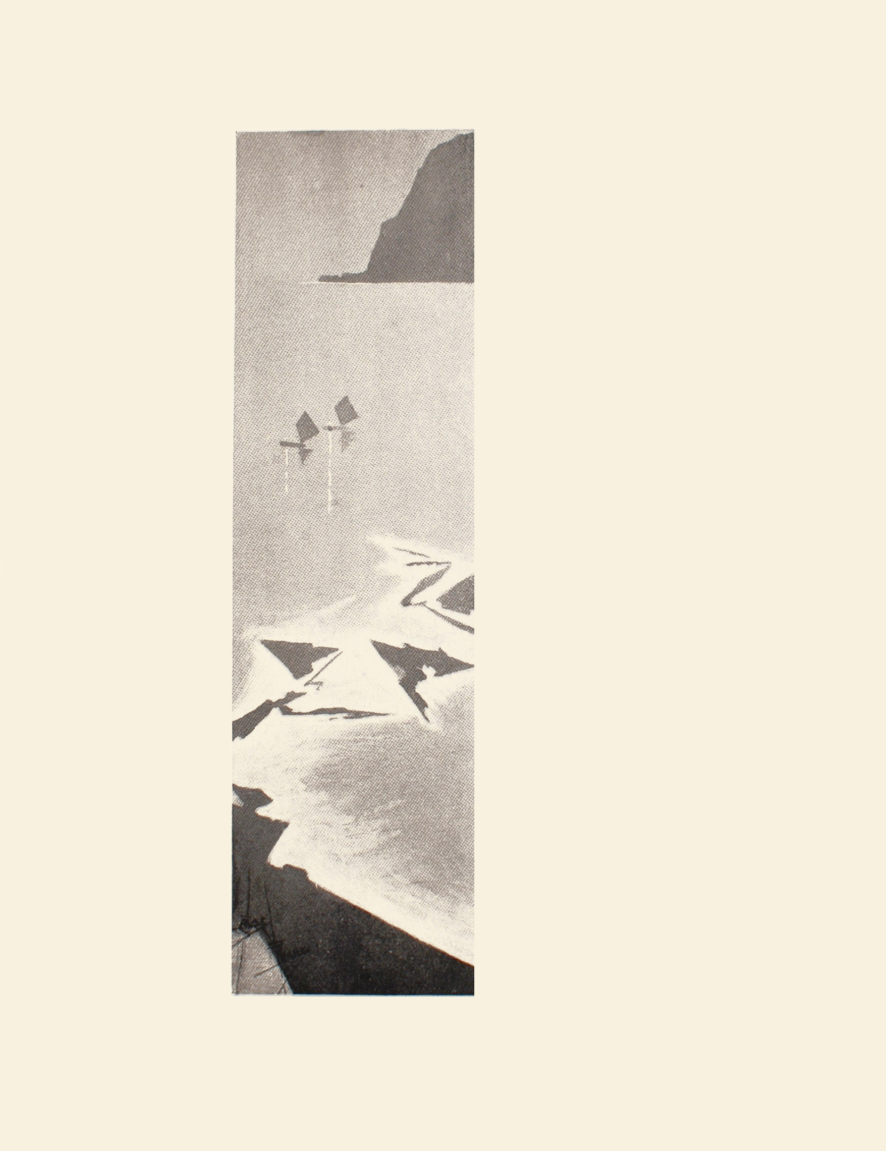 Image is a geometrical and angular rendering of two floating boats Their sails are diamond shaped with a reflection that can be seen in the water There are several arrow shaped islands in the middle ground The water is a lighter colour around these pieces of land A large cliff can be seen in the right background The artist signature is in the lower left corner The image is vertically displayed