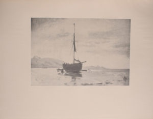 Image is of a boat with a sail floating near land on a calm reflective body of water In the background there are two distinct landmasses on either side of the boat The ship is shown in ¾ view with its bowsprit pointing right A flag is at the top of the middle pole The sky is cloudy The image is horizontally displayed