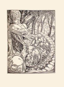 The image is of a large fantastical lizard like creature or dragon wrapping itself around six orbs and five trees The trees have leaves on their branches and in the background there are rolling hills sparse shrubbery and a large tent like object in the upper right corner of the image The body of the creature encircles three light coloured opaque spheres behind the trees in the mid-ground and three transparent orbs in the foreground Two of the transparent orbs have human figures in profile facing left The farthest one contains a male figure kneeling down with his head hidden from view and arms wrapped around his knees He is wearing a helmet and body armour The middle orb contains a woman kneeling down with her head resting against her right knuckles while her elbow rests on her right thigh Her left hand is resting against her left thigh Her light coloured hair is fashioned into an up do and she is wearing a long-sleeved dress and high-collared cloak The third transparent orb located in the extreme foreground at bottom left displays the reflection of the creature s right eye magnified in size the other two orbs reflect the creature s scales and fangs The creature s scaled head is tilted towards the orb holding the male figure eyes gazing downwards at the orb Its left claws are on top of the sphere and its mouth is wide open baring long sharp fangs and long speckled tongue at the object The image is vertically displayed