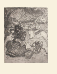 The image is of two ladies sitting outside One woman has dark hair and is wearing a dark patterned dress She is playing a stringed instrument There is a woman with a light coloured dress sitting to the left of the woman playing music Her head is tilted and rests on her right hand There is a man riding a horse in the right middle ground. He is looking toward the women He is wearing a patterned jacket and a bowler hat To the right of the women is a bushel of fruit Behind that bushel is a kneeling Cupid Cupid has his head bowed In his right hand is a piece of fruit in his left he is dabbing a paintbrush on a palette The canopy of a large tree takes up much of the top of the image The name of the image Recreations of Cupid is written in the bottom left corner The image is displayed vertically