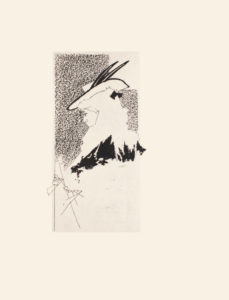 Image is of a woman shown in profile Her light coloured hair flows down her back and shoulders She is wearing a small black bow in her hair She has a light coloured hat with dark feathers on it There is a suggestion of the window to the upper right of the woman The artist s signature is in the lower left The image is vertically displayed