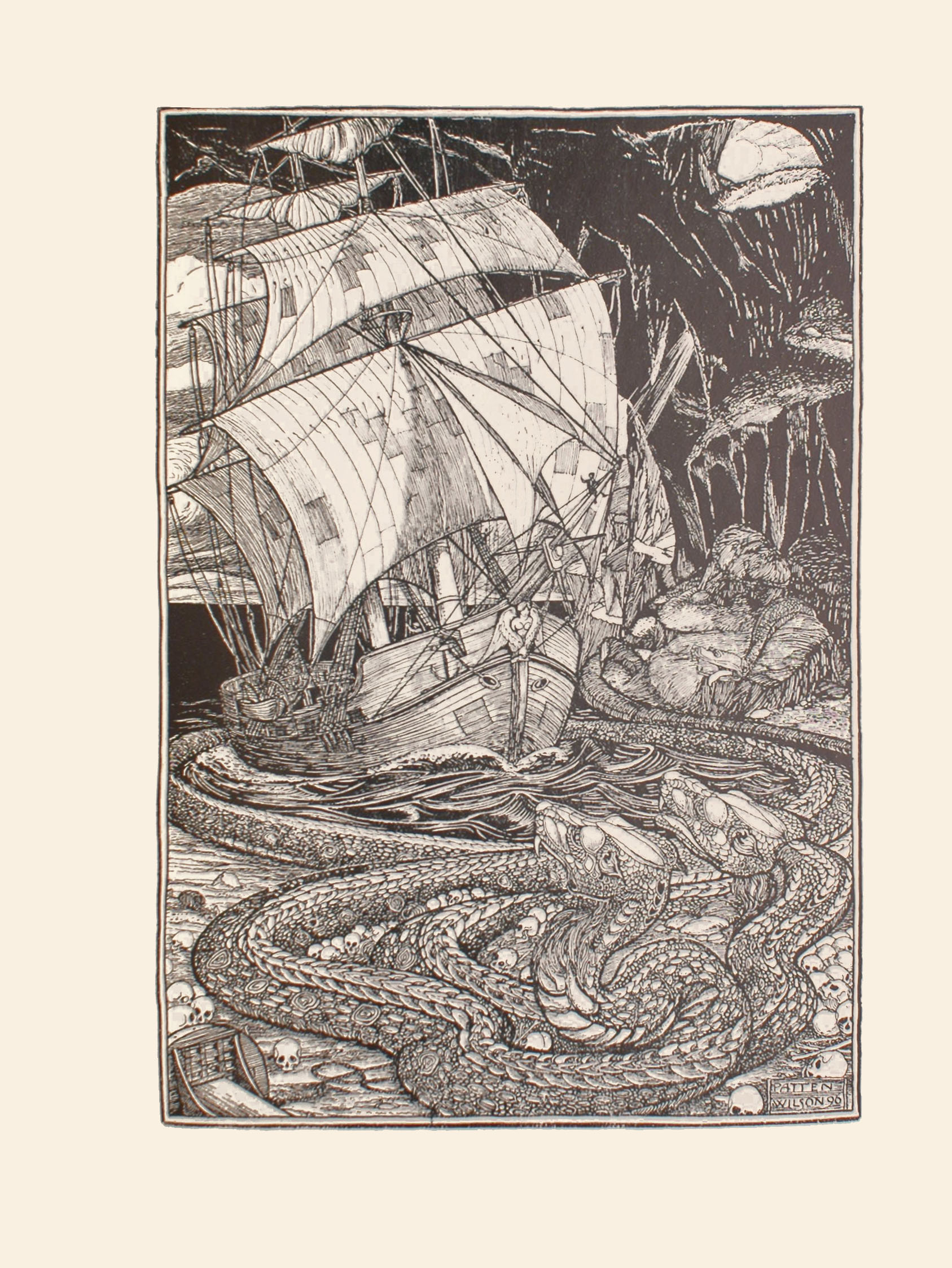 The image is of a tall wooden ship sailing in human skull infested dark waters surrounded by three snake like creatures or serpents The ship is in a dark cave with stalactites hanging from the ceiling. In the upper right corner of the image there is a small opening that depicts a light sky clouds and sunshine streaming into the cave There is also a large opening behind the ship where the sky and clouds are also seen The ship s sails are light coloured and patched with dark coloured rectangular pieces of cloth There is a dark human figure sitting high up on the ship s bowsprit The figure s right hand is raised There is a lighter human figure shown from the chest up on the upper deck of the ship His right arm is pointed towards the starboard side of the ship and he is wearing light coloured clothing and a cap on his head The ship s anchor is raised and the figurehead is of a nude angel with wings The snake like creatures have scaled bodies and are encircling the ship and the water it floats upon Two of the snakes are facing the ship in the lower right hand side of the image They are lying on the skull covered shore mouths slightly open with fangs protruding There is a third snake lying on a raised section of the shore in the mid ground facing the ship with its mouth open tongue hanging out of the left side and fangs protruding The image is displayed vertically