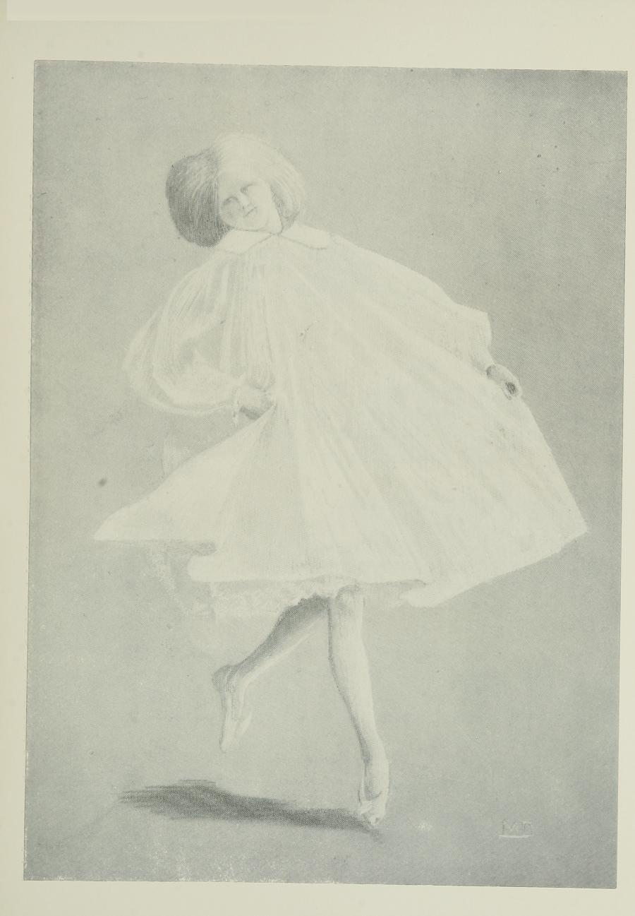 Image is of a woman or a young girl wearing a light coloured muslin dress The dress has a high neckline and full sleeves with a hemline right above the womans knees The woman has thick light coloured shoulder length hair She is wearing ballet slippers She is in motion with her left foot slightly above the ground and her right foot in a upright position pointing at the ground Her right hand is clutching the waist of her dress while her left hand is pulling the bottom of the dress away from her She is leaning back looking toward her right The image is vertically displayed