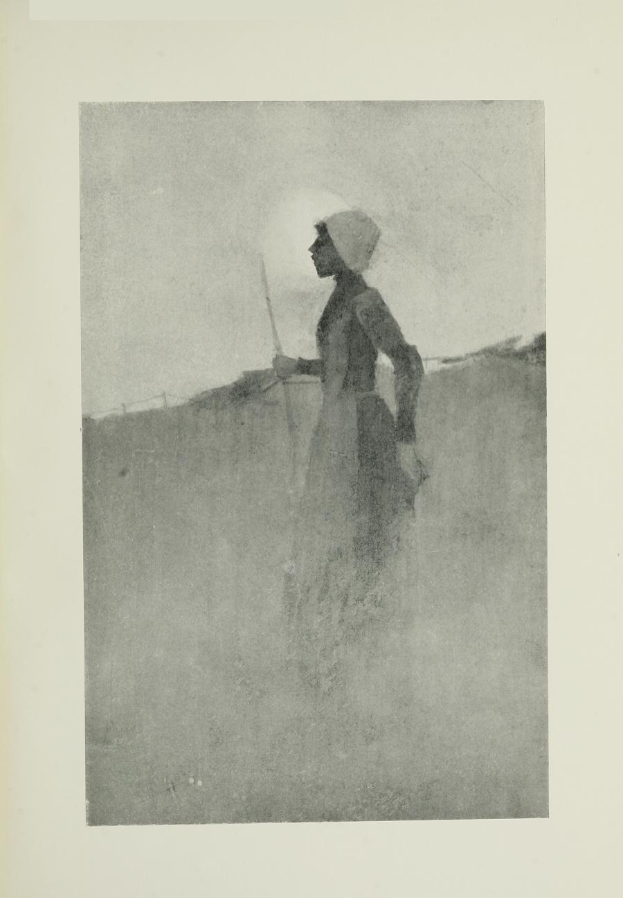 Image is of a woman farming She is shown in profile wearing a bonnet and apron Her dress is dark and long sleeved Her right hand is holding on to a pitch fork The suggestion of a fence is in the left background A low moon is shining behind her profile The sky is clear The image is vertically displayed