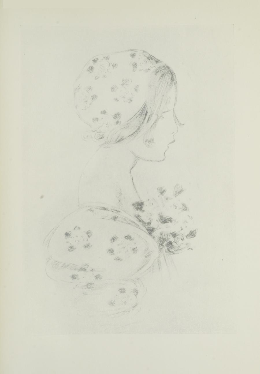 Image is of a woman or a young girl in profile from the shoulders up She has long eyelashes and light coloured hair a couple of strands poke out from under her floral patterned cap Her dress has the same flower pattern with puffed sleeves She is holding a bouquet of flowers against her chest The image is vertically displayed