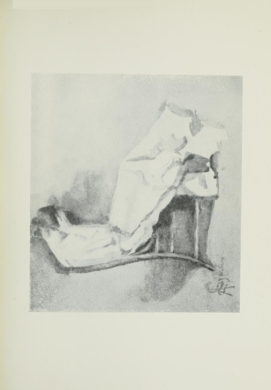 Image is of a woman sitting in a chair in an interior setting She is shown in profile She has dark hair done up The woman is wearing a light coloured dress Her head is in her hands and her shoulders are slumped She is casting a shadow on the wall The artists signature is in the bottom left hand corner The image is horizontally displayed