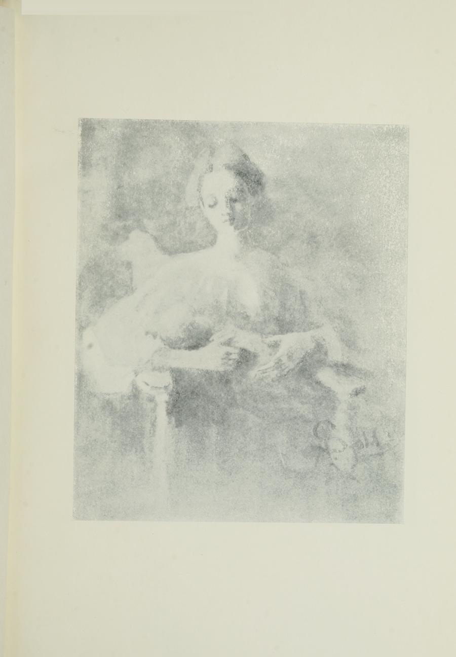 Image is of a woman holding a child She has light coloured hair that is done up Her dress is light-coloured with long sleeves Her right arm is supporting the baby's back the left hand is supporting the babys bottom Her eyes are either shut or looking downward The background is open and undefined The artists last name Szold is in the bottom right side of the image. The image is vertically displayed
