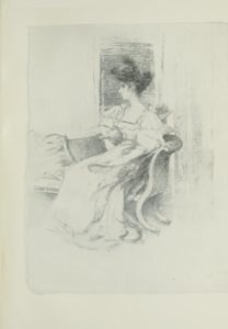 Image is of a woman sitting on a settee She is shown in profile looking left She is wearing a light coloured dress with ruffled sleeves and a low neckline Her hair is up she is wearing a hat Her hands are resting on her lap A window is behind her The image is vertically displayed
