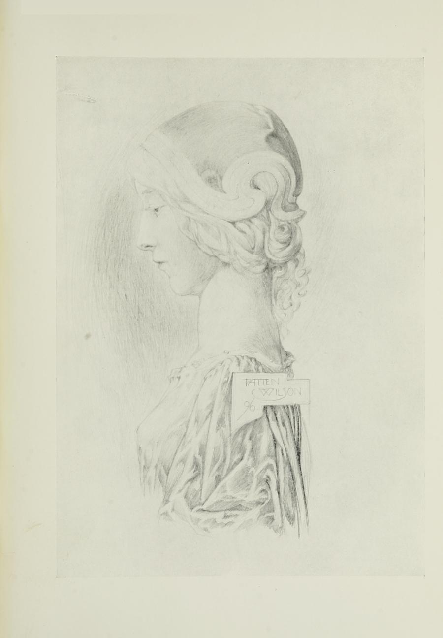 Image is of a woman shown in profile wearing a lightcoloured dress. Her hair is braided under a helmet Her head is casting a shadow on the wall She is looking downward The background is open and undefined The artists name and year of the work PATTEN WILSON 96 is in the middle of an irregularly framed box on her shoulder The image is vertically displayed