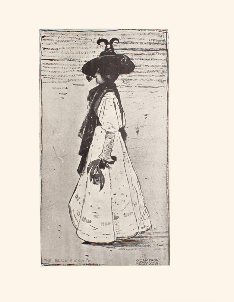 Image is of a woman shown in profile She is wearing a light coloured dress with puffed sleeves and dark gloves Her dress is floor length but the suggestion of a dark shoe can be seen underneath She has dark hair that is done up and worn under a dark hat with wide brim and jester tails A dark shawl is draped around her neck and down her chest She is holding an unidentified object in her left hand. The background is open and undefined The image is vertically displayed