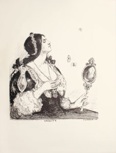 Image is of a woman shown in profile from the waist up She is wearing a dark ornate dress with a low neckline and a light coloured overlay Her dark hair is worn in two braids each of which has a bow She is also wearing a headband She is wearing a large pendant around her neck her left hand is grasping this necklace In her right hand she is holding a decorative mirror Her head is raised up and her eyes are closed. Three butterflies are The images name VANITY artist D Y CAMERON and year 1896 are in the centre and right at the bottom The image is vertically displayed