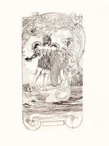 Image is of a woman She is wearing an ornate one piece costume and is standing on two swimming swans Her costume is cut off at the thigh and is long sleeved ending in black gloves The costume has two large round wing like designs that protrude slightly from the woman s back Her left arm is covered in a long billowy white sleeve of patterned material and she is holding what appears to be a small bouquet in her left hand She is looking to her right and is wearing a dark mask that covers her eyes Her hair is in an up do and there is a large decorative hat on her head The two white swans are swimming to the right in a body of water There are house like structures and trees in the far background The upper section of the image has long vines with outlines of flowers along the vines There are small clouds in the background The bottom of the image has the transcription C CONDER in the lower right corner The image is vertically displayed