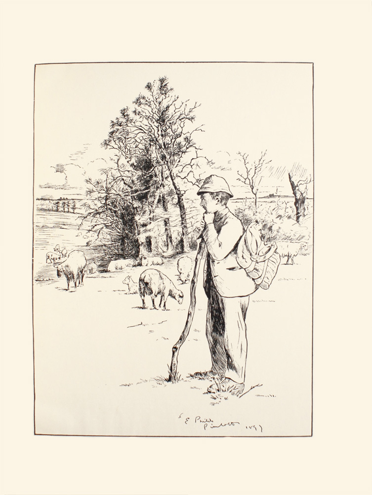 Image is of a man in a field The man is standing in profile towards the left of the image He is holding a long wooden stick with his left hand and is resting his chin on the stick He is wearing a plain light coloured loose blazer pants a knapsack and a colonial helmet In the mid-ground there are four lambs grazing grass and one smaller lamb sitting down There are three more lambs in the background grazing in a field There are a few isolated trees in the background and the outline of more trees farther away There are light clouds in the background The image transcription on the bottom of the page is E PHILIP PIMLOTT 1897 The image is vertically displayed