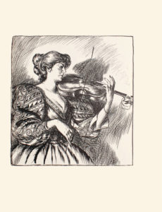 Image is of a woman playing the violin The woman is standing in profile She is holding the violin in her left hand while holding the bow in her right Her hair is in a low up do and she is wearing a patterned dress with long puffy sleeves and a full skirt Her shadow is displayed on the wall behind her The image is vertically displayed