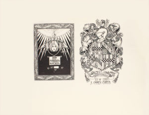 Image is of a bookplate illustrating a coat of arms The coat of arms is made up of different patterned sections such as black and white checkers lined stripes circular patterns skeleton keys crossed with swords all surrounded by an ornate border There is a soldier's helmet and visor in profile towards the top of the coat of arms a number of flowers and vines bearing small fruit and large leaves The top most part of the coat of arms has a figure of a ram in profile framed by a branch of leaves Below the coat of arms, there is a banner that reads GRADATIM VINCIMUS and below this banner reads EX LIBRIS S CAREY CURTIS The image is horizontally displayed