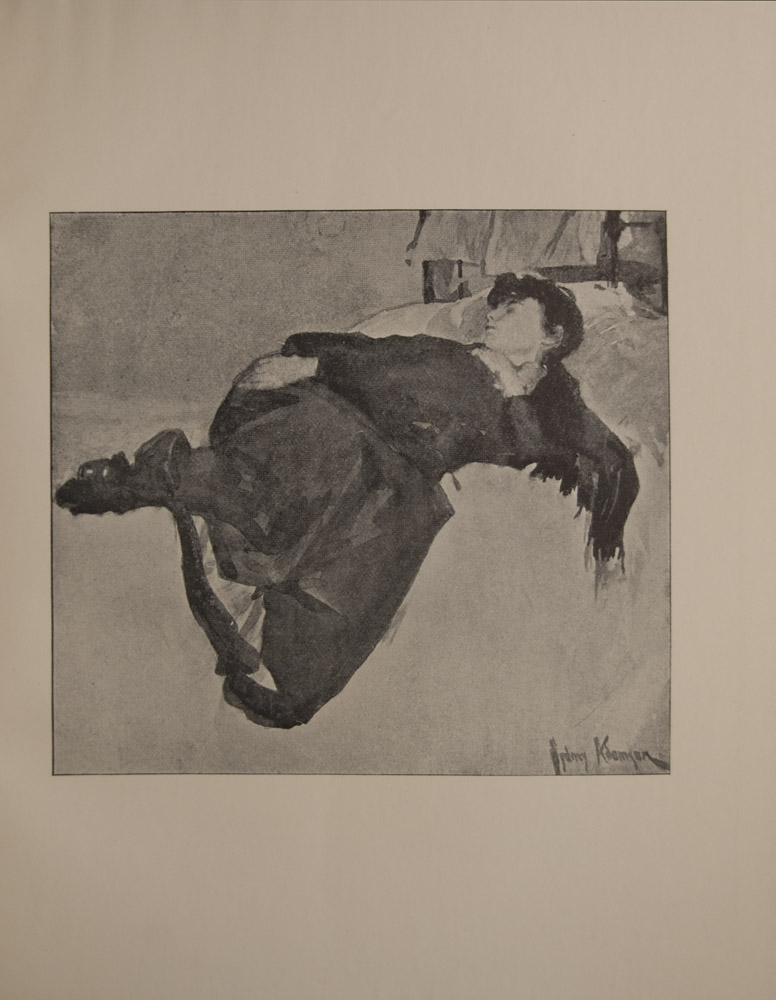 The image is of a girl in street clothes wearing a shawl a hat and boots lying on white bed sleeping There is a window in the top right background The image is signed in lower right corner The image is vertically displayed