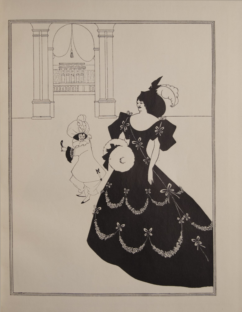 The image is of a woman standing in the foreground to the right She wears a long black dress with 3 4 sleeves garlanded with flowers She carries a muff and wears a hat with a white feather Behind her in the centre is a dwarf holding a mask dressed in pantaloons and a large puffed hat with feather long coat and ruff In the background there is an arched doorway between two pillars looking into an exterior balcony The image is contained in a frame of three thin black lines The image is vertically displayed