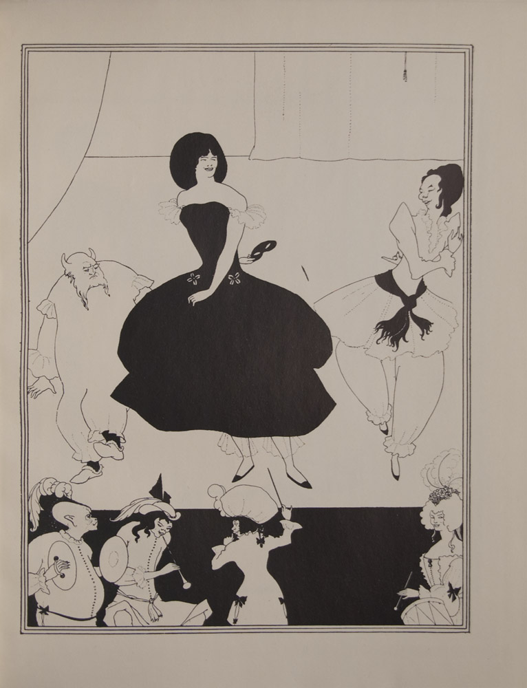 The image is of three figures onstage with four figures below Onstage the central figure is a tall woman in a black dress holding two white flowers in her left hand and a mask behind her back There is a figure on either side of her each in white On her left is a horned man in bloomers with a forked beard one foot raised he appears to be dancing On her right is a female or androgynous figure in short dress pantaloons black sash who has a bent arm in front and bent arm behind and looks at the principal dancer whose arms are similarly positioned Curtains frame top of image on left side and extreme back of stage Musicians below appear white against black stage Conductor is wearing an 18th century coat with pigtail butterfly bows on coat on far right a woman in 18th century dress feather in hair There is a drum in the bottom right corner On the left there are two figures one blowing into a wind instrument the other with cymbals Both with feathers in headpiece Far left figure is bald other has long black hair The image is framed by three thin black lines The image is vertically displayed