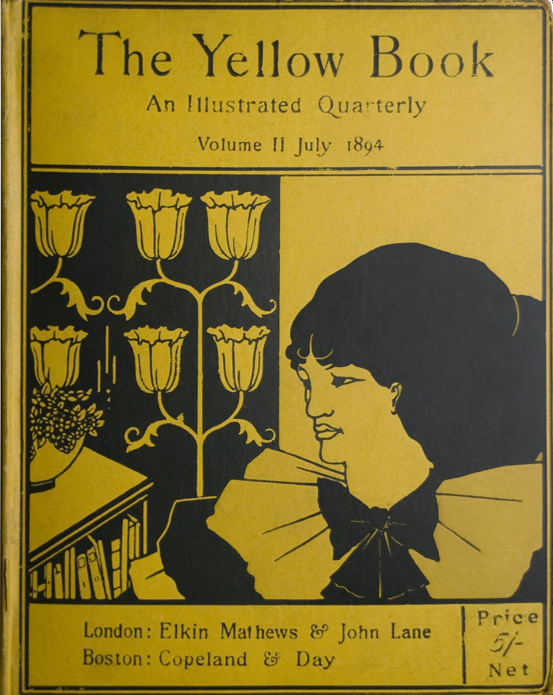 The image is divided in half vertically left is black with yellow design right is yellow with black design Left side contains a bookcase with a potted plant on top and behind a flowering candelabra design around Beardsley s signature On the right is a woman s head in 3 4 position her shoulders are covered in three ruffled collars tied with a large black bow Horizontal black lines frame the top and bottom The title and volume information is at the top of the image and the publisher s information is at the bottom The image is vertically displayed and printed with black ink on yellow background