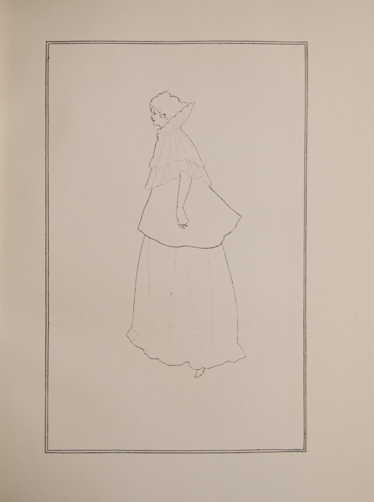 This portrait of Mme. Rejane is a minimalist outline drawing on a blank background The image is of a single female figure in full length profile facing left She is wearing a flounced cape over a skirt Two thin black lines frame the image The image is vertically displayed