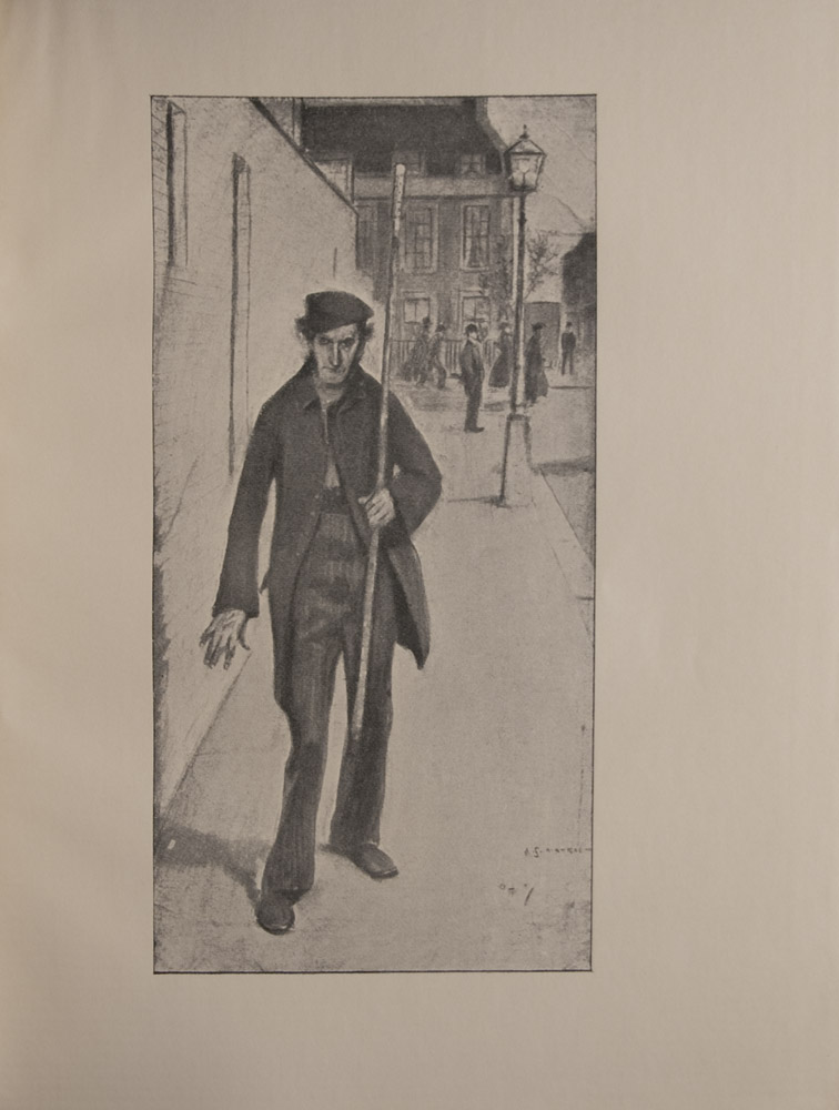 The image is of a working class figure walking face forward in the foreground On his left side is a brick wall he walks on the sidewalk and carries a long lamplighters pole Figure wears striped trousers long open coat and slouch hat Behind him is a lit lamp and in the background there is a street corner with pedestrians and buildings The image is signed in the bottom right The image is vertically displayed
