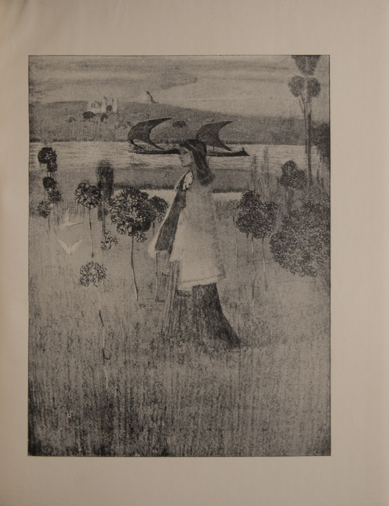 The image is of a single female figure in full length profile centred in a field of grass and ornamental trees She is wearing a cape and a long dress She has dark hair White doves fly before her Behind her is a river on which a two masted ship is passing and there is a castle on far bank The image is vertically displayed