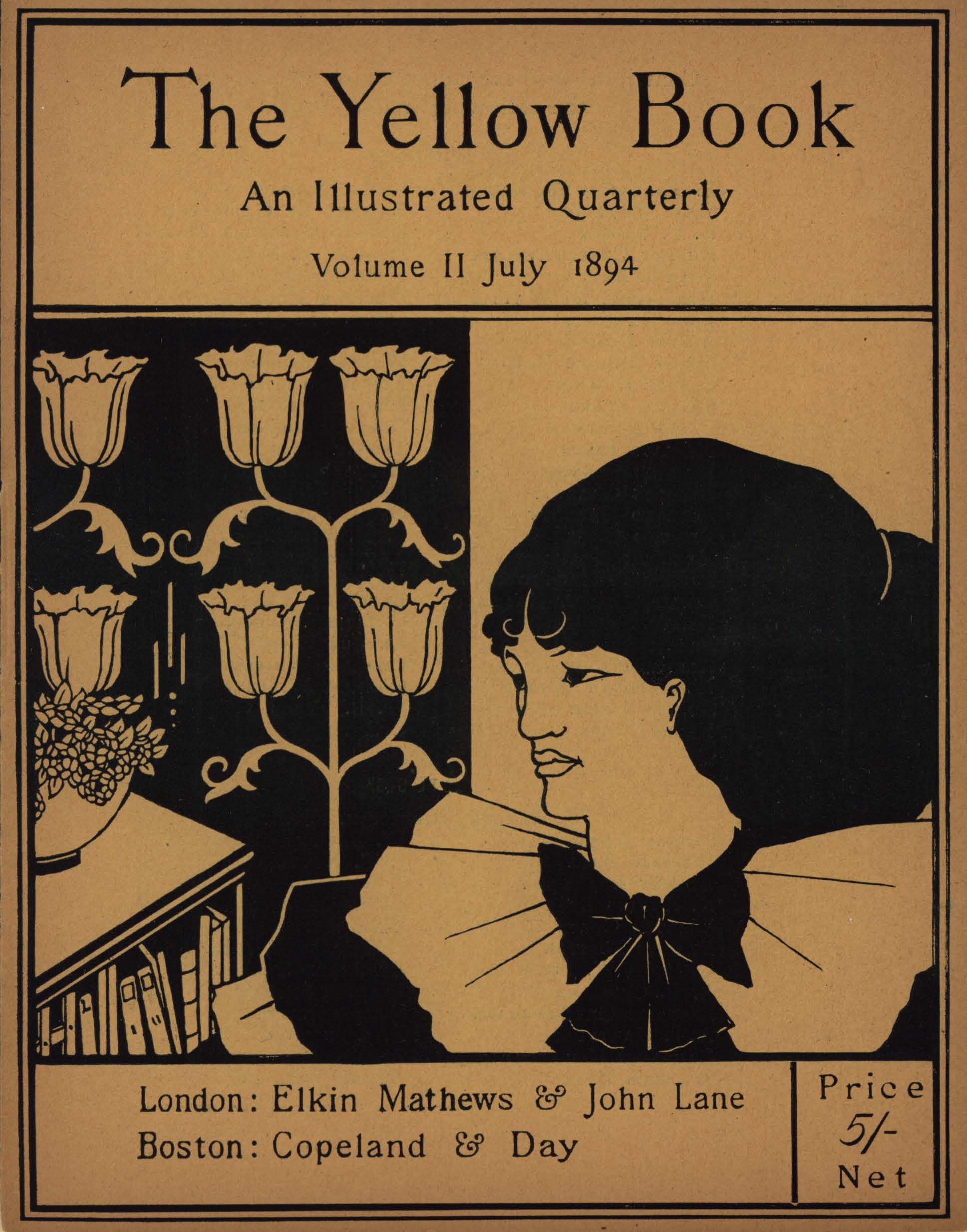 The image is divided in half vertically the left side is black and the right side is uncoloured The left side of the image contains a bookcase with a potted plant on top Behind and above the bookcase is a flowering candelabra design On the right side of the image is a woman s head in 3 4 position looking left her shoulders are covered in three ruffled collars tied with a large black bow The image is printed black on yellow paper and vertically displayed