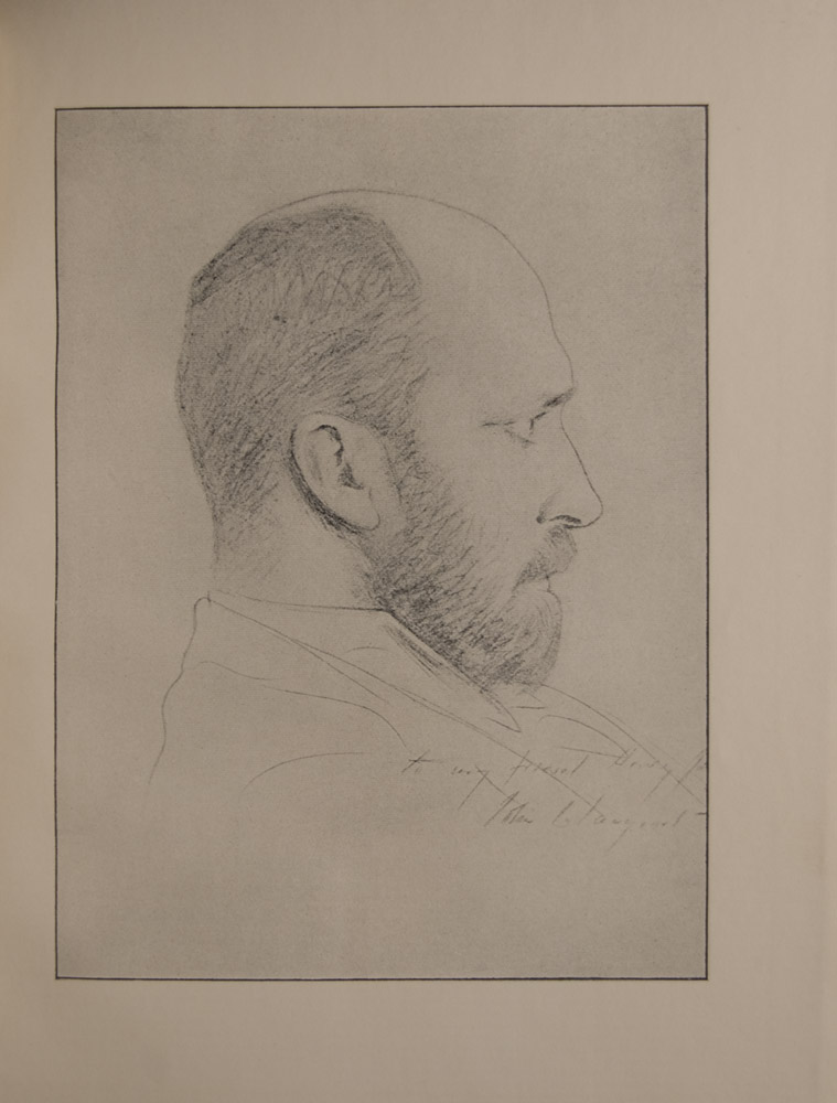 The image is a portrait of a man s head in profile looking right He is a bearded balding figure with an intense look The image has a thin black frame Signed to my friend Henry James John S Sargeant The image is vertically displayed