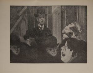 The image is of a crowd of people gathered around a singing woman in a music hall In the bottom right hand corner there is the face of the woman in profile with open mouth She is wearing fancy head dress She may be missing a tooth Facing the viewer and singer is a row of men in hats The image is displayed horizontally