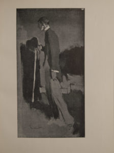 The image is of Beardsley viewed at full length in the act of walking away His head is turned in profile his chin is illuminated from below He wears a white collar cuffs a dark coat and light trousers He is holding a hat and white walking stick in his right hand His body casts a shadow in front of him The background is indistinct and shadowy The image is displayed vertically