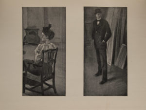 The image is of a full length figure of a man who stands facing viewer His hands are in the pockets of dark suit he wears a bowler hat He stands in a room with stacked canvases behind him The image is displayed horizontally