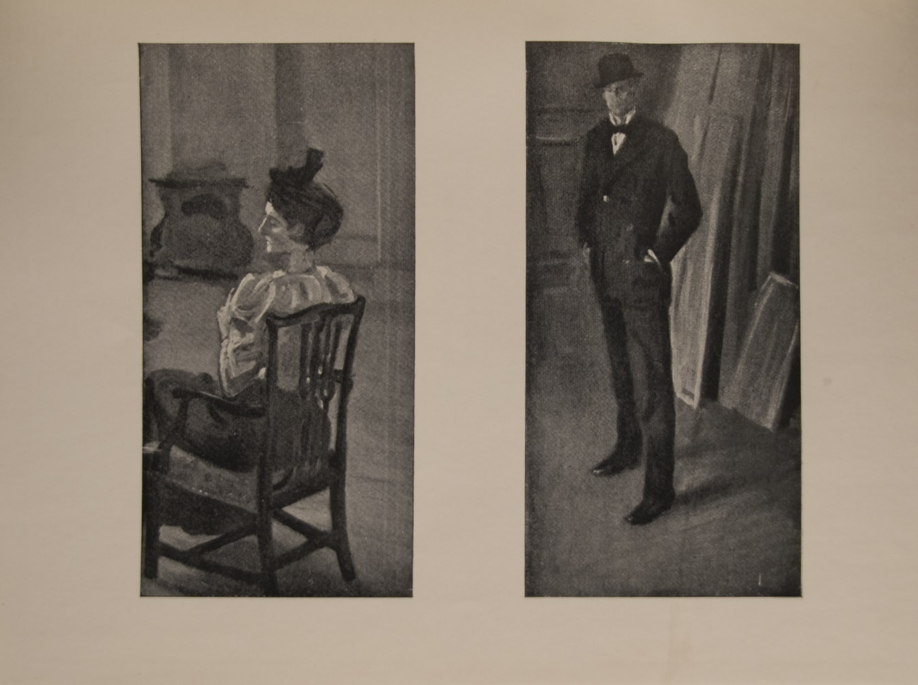 he image is of a mature woman seated in a chair her back to the viewer but with head in profile She wears a hat a white blouse and a dark skirt The scene is in an interior room there is a stove in the background The image is displayed horizontally