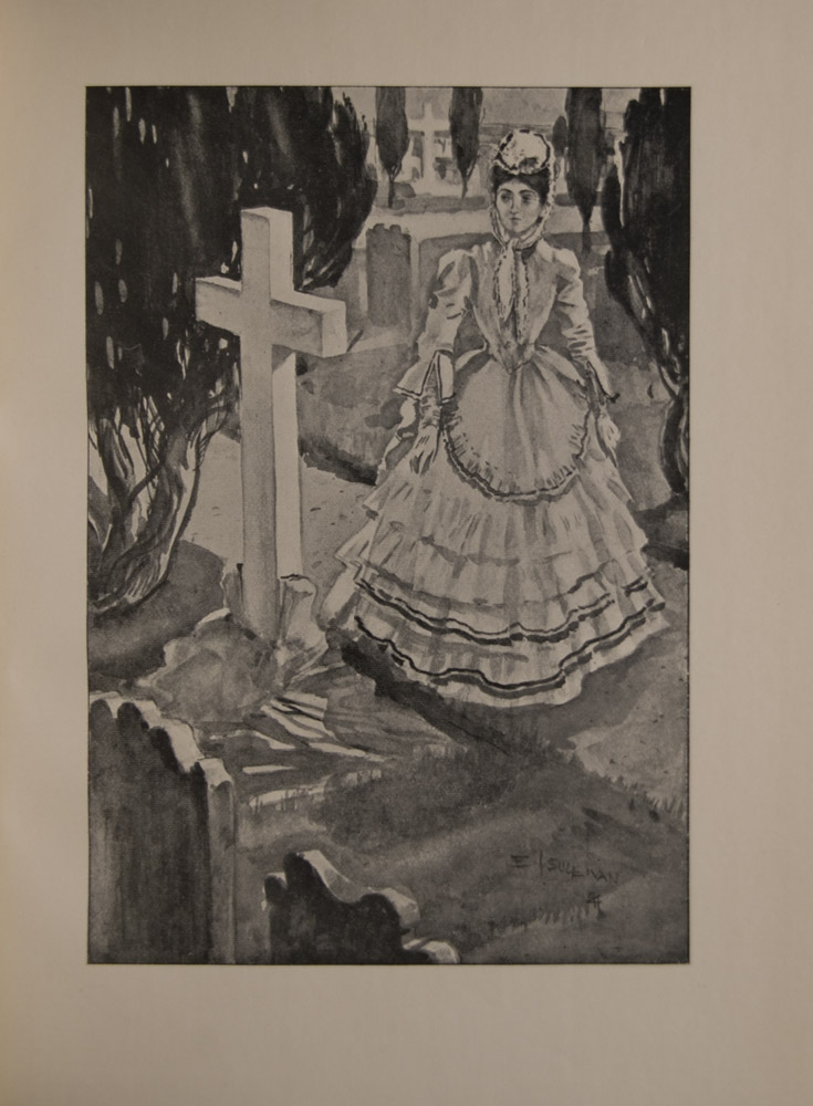 The image is of a woman standing and looking at a grave She wears a flounced Victorian white dress a white hat and gloves The grave has a large white cross and stands in a graveyard marked out in rows Two graves stand in the foreground in the bottom left corner Cypress trees stand in the middle ground and background The image is signed in the bottom right corner The image is displayed vertically