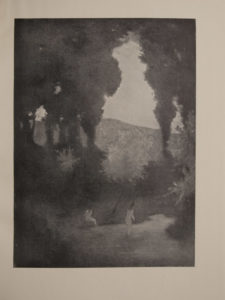 The image is a landscape the foreground contains two small nude figures by a pool of water one is standing in the water and the other is seated nearby There are towering trees in the background with a clearing that looks out into the horizon The image is displayed vertically